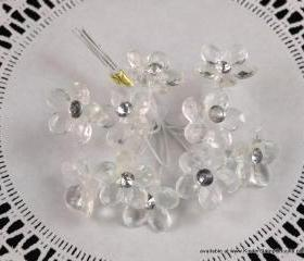 10 - Acrylic and Diamond Flowers with Organza leaves - Glass (Clear)