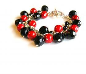 Cranberry and Black Beaded Bracelet