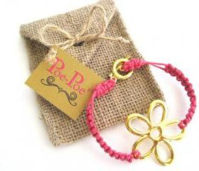 Hemp Bracelet, Braided Bracelet, Friendship Bracelet, Flower, Pink