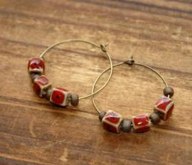 Maroon Ceramic Cube Bronze Beads Hoop Earrings