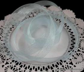 5 yards - 5/8 inch Organza Ribbon - Baby Blue