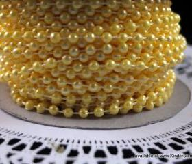 5 yards - 4mm Pearls - Sunshine (Yellow)