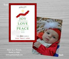 Wishing You Joy Love Peace Photo Christmas Card Design *free* return address labels file with purchase