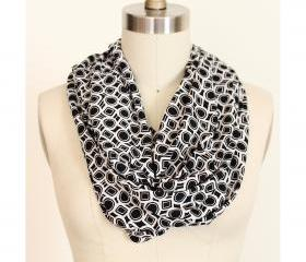Infinity Scarf in Geometric Black and White Circles and Squares Circle Loop
