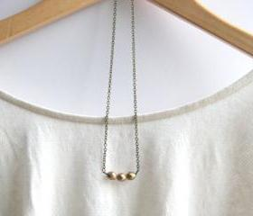 Matte Metallic Gold Czech Bead Necklace // Bridesmaid Gifts // Gold Bridesmaid Necklaces // Maid of Honor Gifts