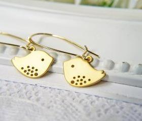 Matte Gold Lovebirds Earrings. Modern. Simple. Adorable