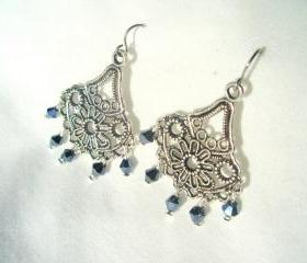 Ladies Chandelier Earrings Swarovski Surgical Steel Hypoallergenic Long Dangle Silver Tibet Black