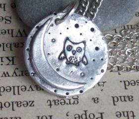 Owl and the Moon - Fine Silver Necklace