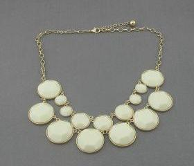 ivory bubble statement necklace,holiday party,birthday,bridesmaid gift,Beaded Jewelry,wedding necklace