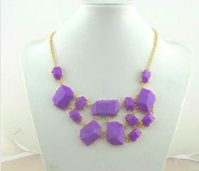 Purple bubble bib Statement necklace,holiday party Necklace,bridesmaid gifts,Beaded Jewelry,wedding necklace