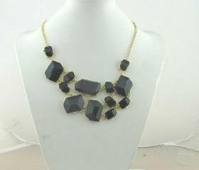 Black bubble bib Statement necklace,holiday party Necklace,bridesmaid gifts,Beaded Jewelry,wedding necklace