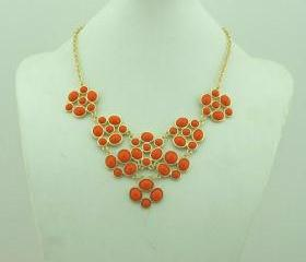 Orange-red necklace, handmade bib Necklace/Statement Bubble Necklace,bridesmaid gifts,Beaded Jewelry