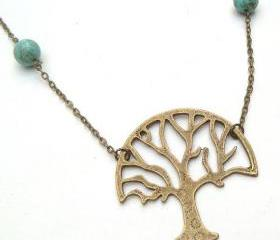 Antiqued Brass Tree Green Turquoise Necklace