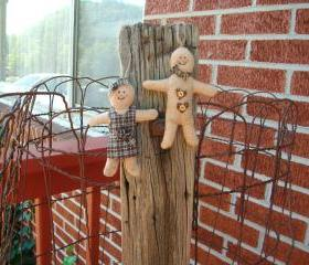 Gingerbread Man and Girl Christmas Ornaments - For Christmas Tree, Swag or Tucks