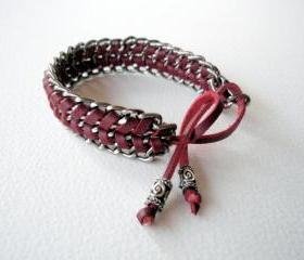 Braided Chain Friendship Bracelet, Christmas Fashion, Burgundy Plum color