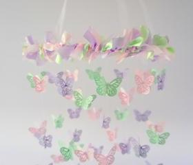 Pastel Mint, Pink, Lavender Nursery Butterfly Mobile, Photography Prop, Baby Shower Gift