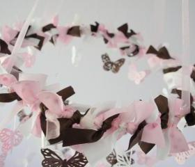 Polka Dot Nursery Mobile- Butterflies in Pink, White, & Chocolate
