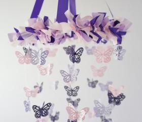 Butterfly Mobile in Purple, Lavender, Pink