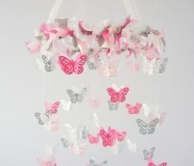 Pink & Gray Nursery Butterfly Mobile