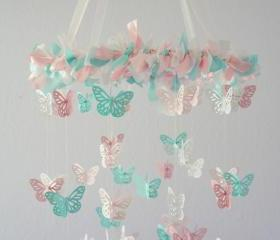 Pink & Aqua Nursery Butterfly Mobile