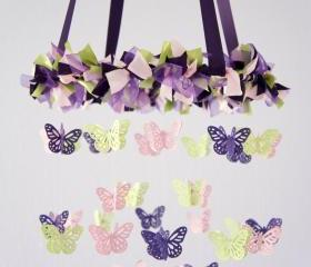 Butterfly Mobile- Purple, Pink, Green Baby Mobile