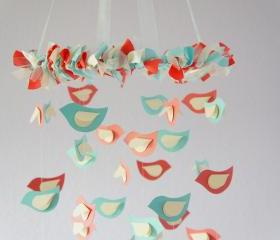Coral, Aqua & Ivory Bird Nursery Mobile