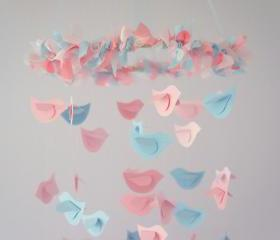Pink & Blue Nursery Mobile- Birdie Nursery Decor, Baby Shower Gift