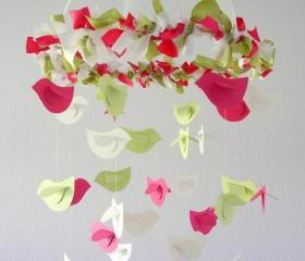 Nursery Birds in Pinks Green & White