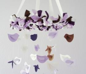 Lavender Brown Purple & White Bird Mobile, Nursery Decor, Baby Shower Gift