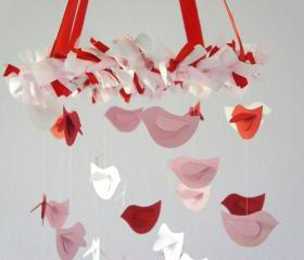 Pink Red White Nursery Mobile- Bird Mobile, Nursery Decor, Baby Shower Gift