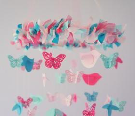 Pink Aqua Turquoise Butterflies & Birds Nursery Mobile