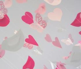 Birds Hearts & Butterflies Mobile- Sweet Baby Girl Pink Nursery Decor Mobile