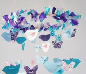 Nursery Mobile- Blue, Pink, Purple Birds & Butterflies- Nursery Decor, Baby Shower Decor
