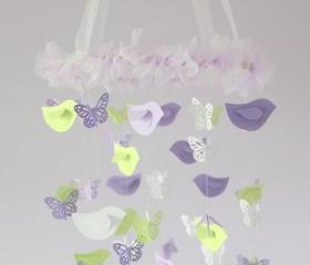 Lavender & Green Nursery Decor Mobile- Birds & Butterflies