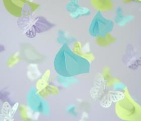 Lavender, Blue, Green & White Birds & Butterfly Nursery Mobile