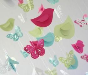 Butterflies & Birds Nursery Mobile in Bright pink, Aqua, Green, & White