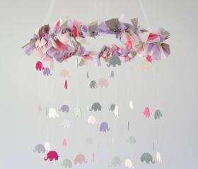 Pink Lavender Gray Elephant Nursery Mobile- Nursery Decor, Baby Shower Gift
