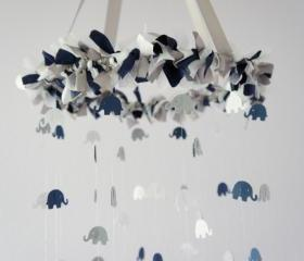 Baby Boy Elephant Mobile in Navy, Gray, & White- Nursery Mobile Decor, Baby Shower Gift