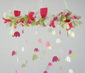 Pink, Green & White Nursery Elephant Mobile