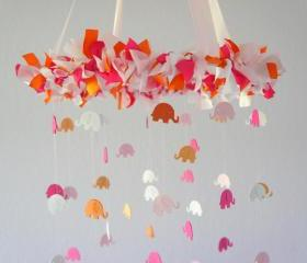 Pink & Orange Elephant Nursery Mobile