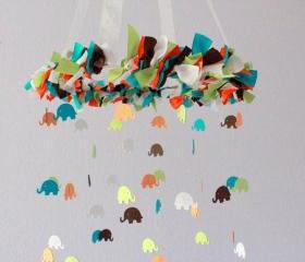 Elephant Nursery Mobile in Turquoise, Orange, Green, Brown & White