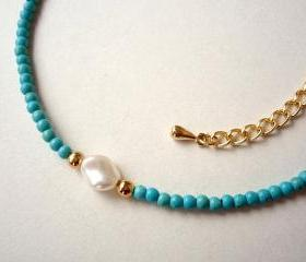 Turquoise Beaded Necklace, Delicate Feminine Necklace, Pearl Necklace, Friendship and Bridesmaid Jewelry