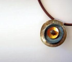 Shell and Leather Unique Pendant Necklace - Golden Brown Orange - Fall Winter Fashion Necklace - Round Leather Pendant