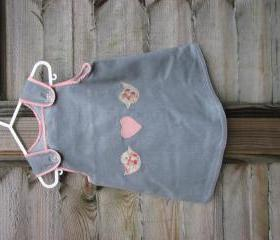 Baby girls grey/pink floral heart bird dress