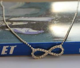 Rhinestone Silver , Bright, White Infinity Necklace