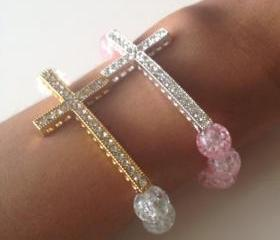Rhinestone Cross Bracelet