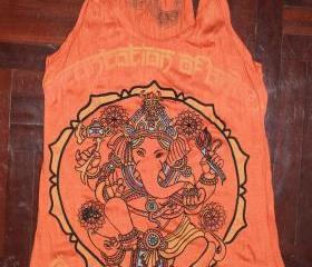Women's T shirt FREE SIZE S/M ONLY Ganesha Hindu OM Sign Hamsa Hand Yoga Clothing Buddha T-shirt Yoga Tee