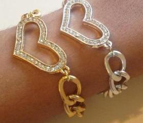 Rhinestone Heart Bracelet