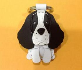 Harley the Springer Spaniel leather keychain ( Black )