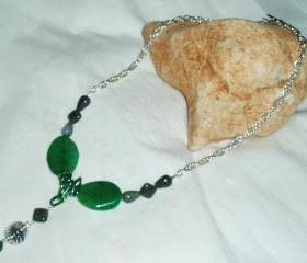 Green Agate Picture Jasper Pendant Necklace